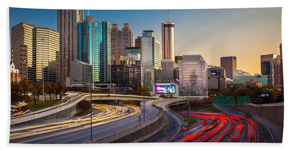 America Beach Towel featuring the photograph Atlanta Downtown Lights by Inge Johnsson