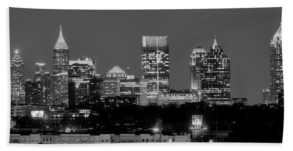 Atlanta Beach Towel featuring the photograph Atlanta Skyline At Night Downtown Midtown Black And White Bw Panorama by Jon Holiday