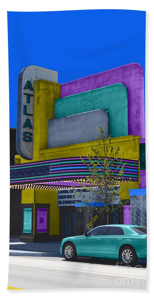 Atlas Beach Towel featuring the photograph Atlas Theatre by Jost Houk