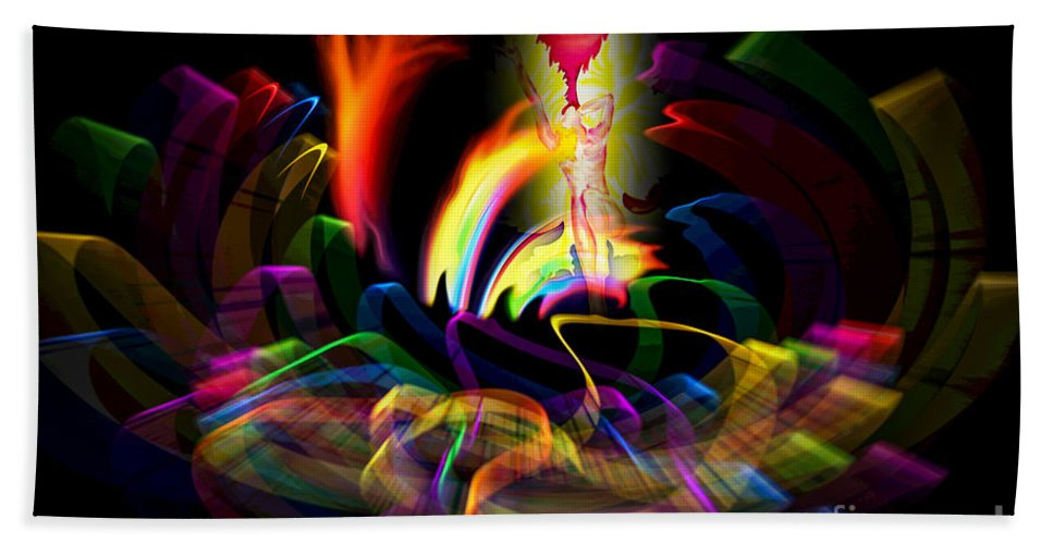 Atrium Beach Towel featuring the painting Atrium Outburst Angel by Walter Zettl