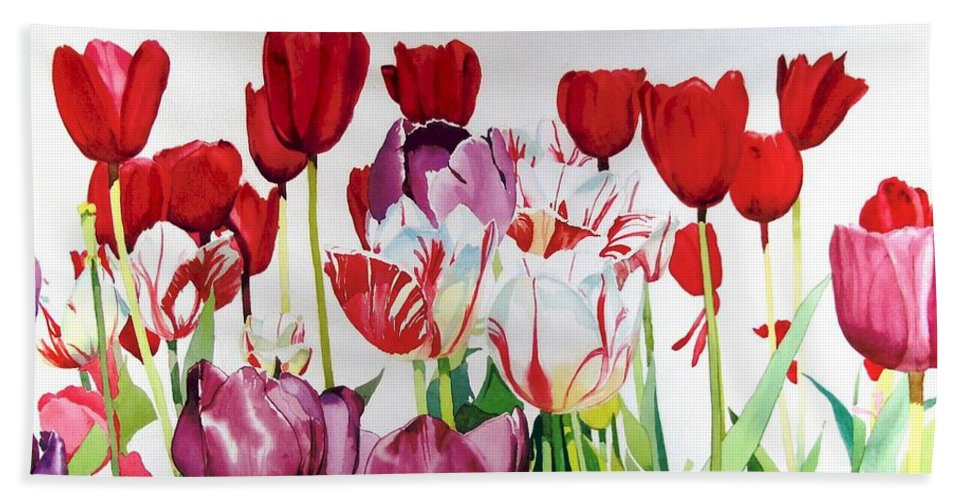 Tulips Beach Towel featuring the painting Attention by Elizabeth Carr