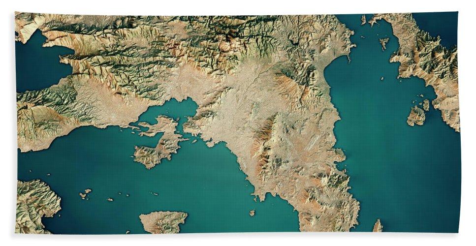 Attica Greece 3d Render Satellite View Topographic Map Beach Sheet