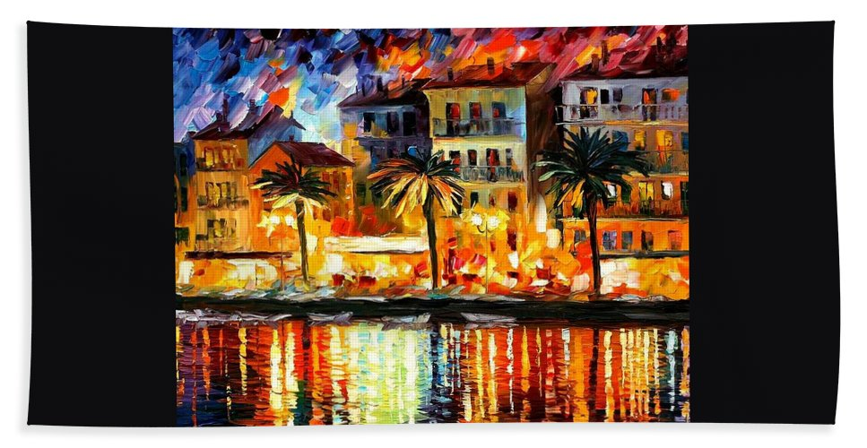 Afremov Beach Towel featuring the painting Attractive Corsica by Leonid Afremov