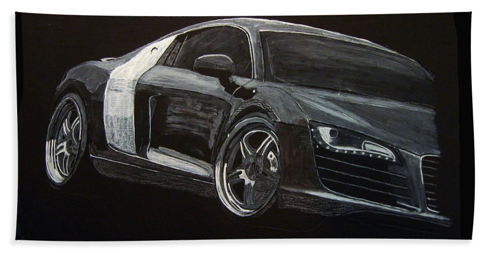 Audi Beach Towel featuring the painting Audi Le Mans by Richard Le Page