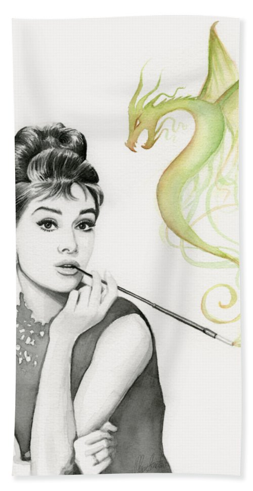 Audrey Beach Towel featuring the painting Audrey and Her Magic Dragon by Olga Shvartsur