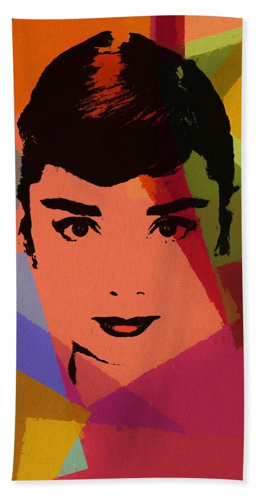 Audrey Hepburn Pop Art 1 Beach Towel featuring the mixed media Audrey Hepburn Pop Art 1 by Dan Sproul