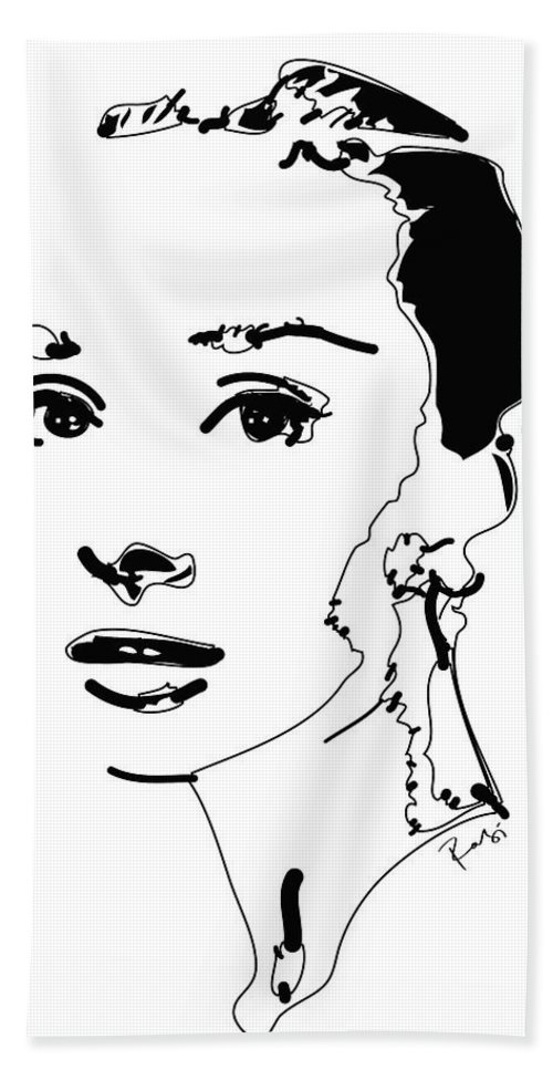 Actress Beach Sheet featuring the digital art Audrey Hepburn by Rabi Khan