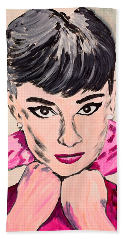 Portrait Beach Towel featuring the painting Audrey Hepburn by Valerie Ornstein