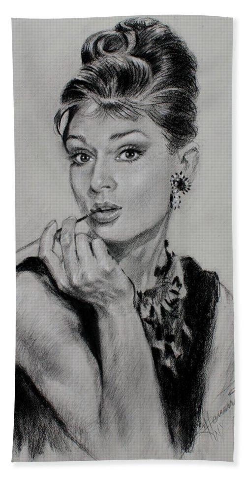 Audrey Hepburn Beach Towel featuring the drawing Audrey Hepburn by Ylli Haruni
