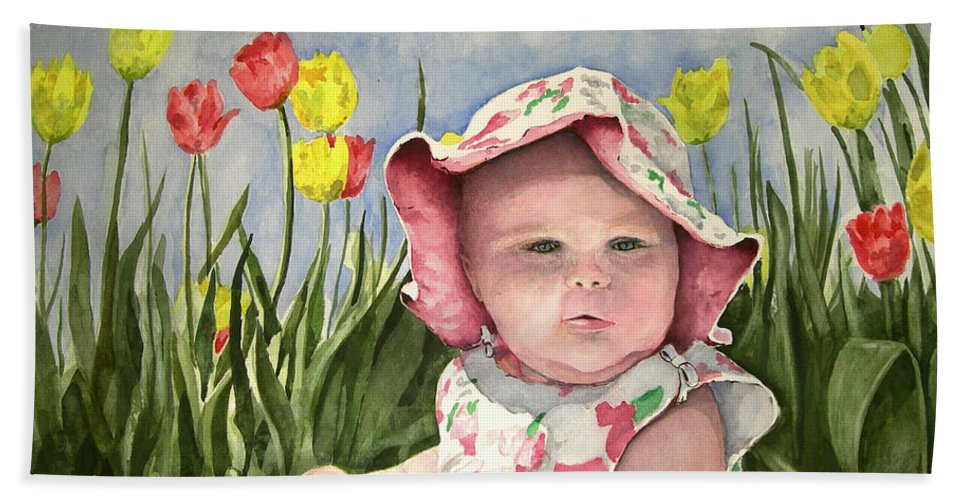 Kids Beach Towel featuring the painting Audrey by Sam Sidders