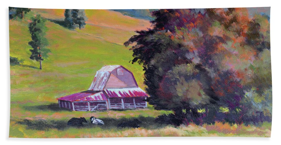 Impressionism Beach Towel featuring the painting August Pastures by Keith Burgess