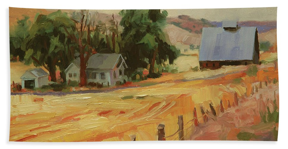 Country Beach Towel featuring the painting August by Steve Henderson
