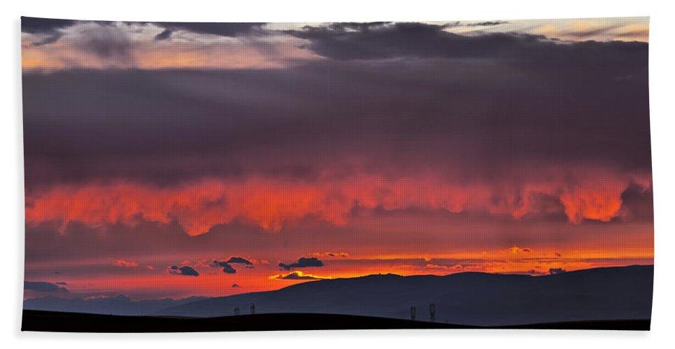 Sunset Beach Towel featuring the photograph August Sunset by Albert Seger