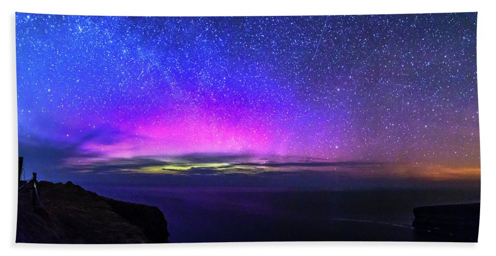 Aurora Beach Towel featuring the photograph Aurora At Ceide Fields by Michael Kinsella