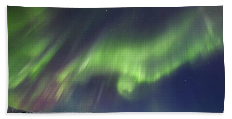 Aurora Borealis Beach Towel featuring the photograph Aurora Borealis Over Blafjellet by Arild Heitmann