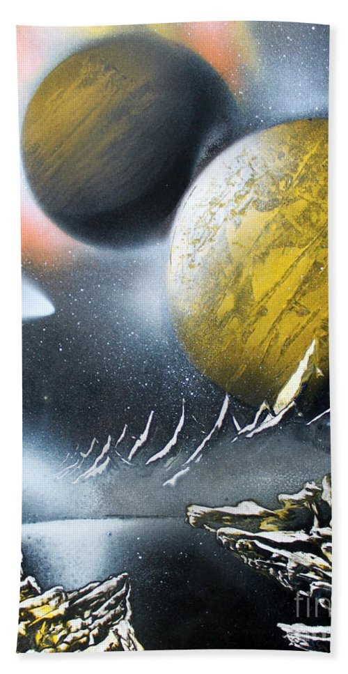 Space Art Beach Towel featuring the painting Aurora by Greg Moores