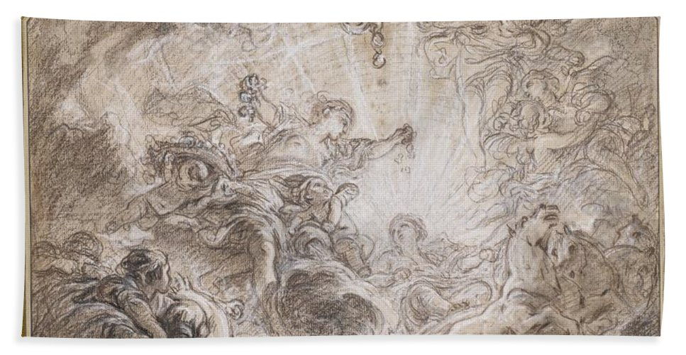 Beach Towel featuring the drawing Aurora Heralding The Arrival Of The Morning Sun by Fran?ois Boucher