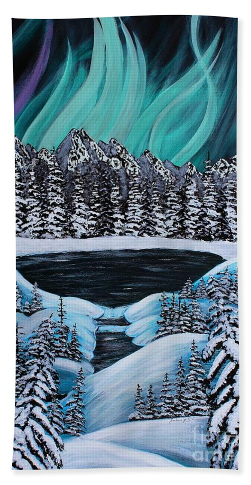 Barbara Griffin Beach Towel featuring the painting Aurora's Fiery Display by Barbara Griffin