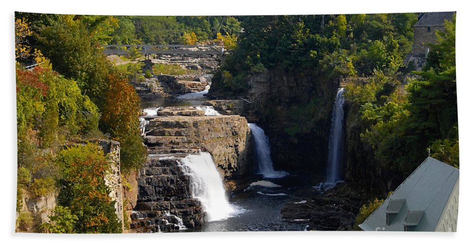 Ausable River Beach Towel featuring the photograph Ausable Falls by David Lee Thompson