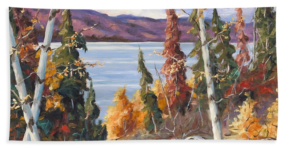 Art Beach Sheet featuring the painting Automn Colors by Richard T Pranke