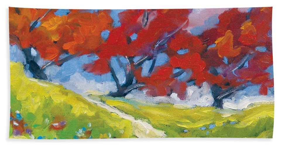Art Beach Sheet featuring the painting Automn Trees by Richard T Pranke