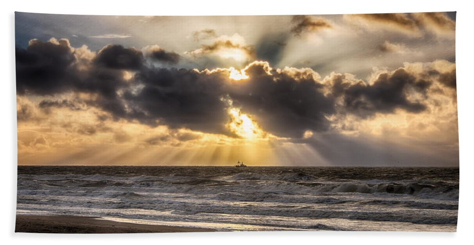 Autumn Beach Towel featuring the photograph Autum Storm 001 by Alex Hiemstra