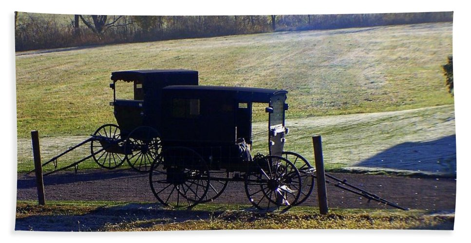Amish Beach Towel featuring the photograph Autumn Amish Horse Buggy by Charlene Cox