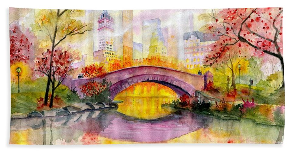 Autumn At Gapstow Bridge Central Park Beach Towel featuring the painting Autumn at Gapstow Bridge Central Park by Melly Terpening