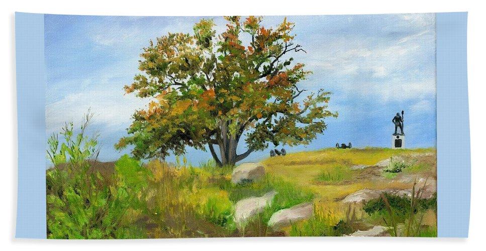Gettysburg Beach Towel featuring the painting Autumn At Gettysburg by Deborah Butts