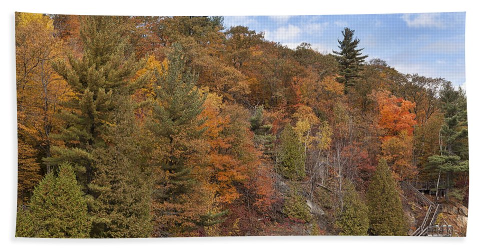 Lake Beach Towel featuring the photograph Autumn At Pink Lake by Eunice Gibb