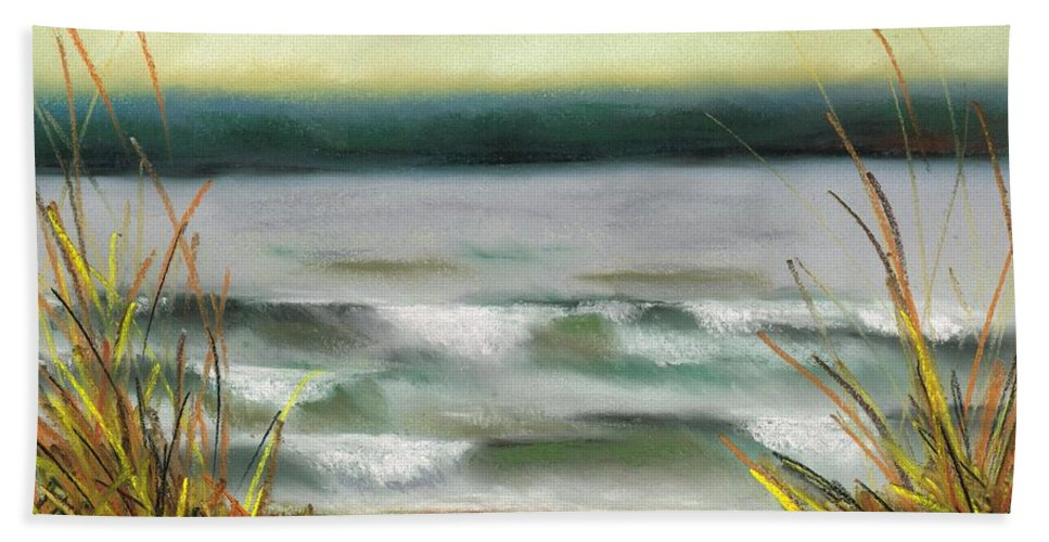 Lake Beach Towel featuring the painting Autumn At The Lake by Frances Marino