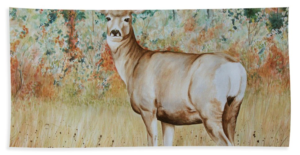 Wildlife Beach Sheet featuring the painting Autumn Beauty- Mule Deer Doe by Elaine Booth-Kallweit