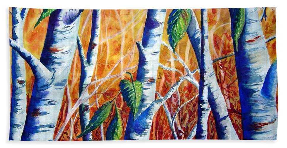 Autumn Birch Trees Beach Sheet featuring the painting Autumn Birch by Joanne Smoley