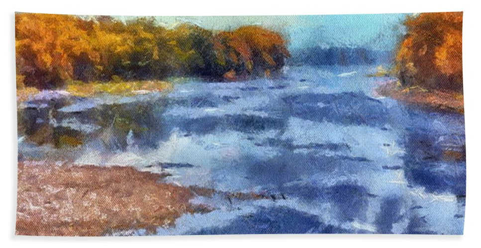 Autumn Beach Towel featuring the photograph Autumn By The River by Thomas Woolworth