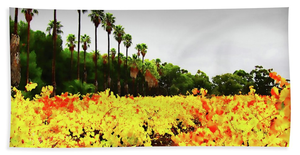Palm Trees Beach Towel featuring the photograph Autumn Contrasts by Douglas Barnard