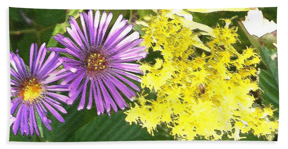 Aster Beach Towel featuring the photograph Autumn Duo by Nelson Strong