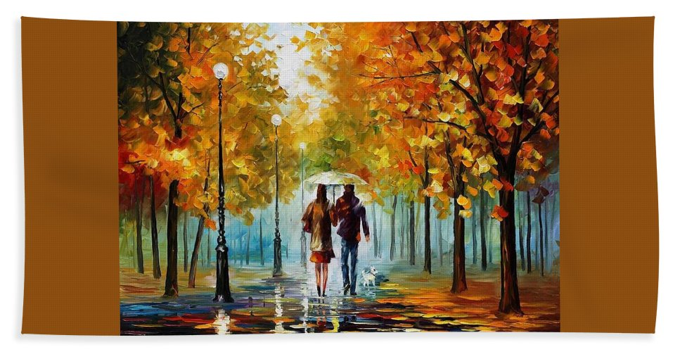 Afremov Beach Towel featuring the painting Autumn Elegy by Leonid Afremov