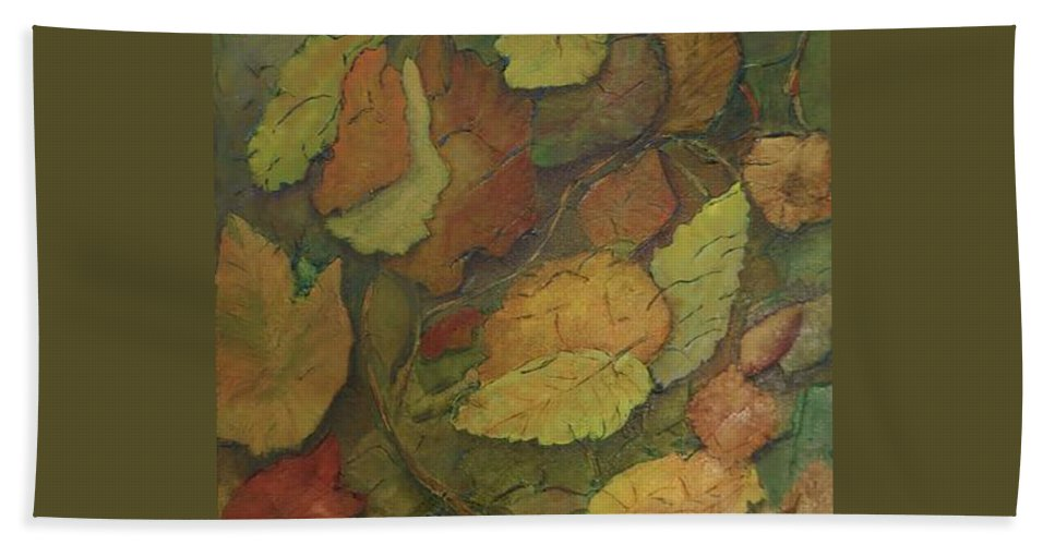 Leaves Autumn Leaves Beach Towel featuring the painting Autumn Falling by Monica Hebert