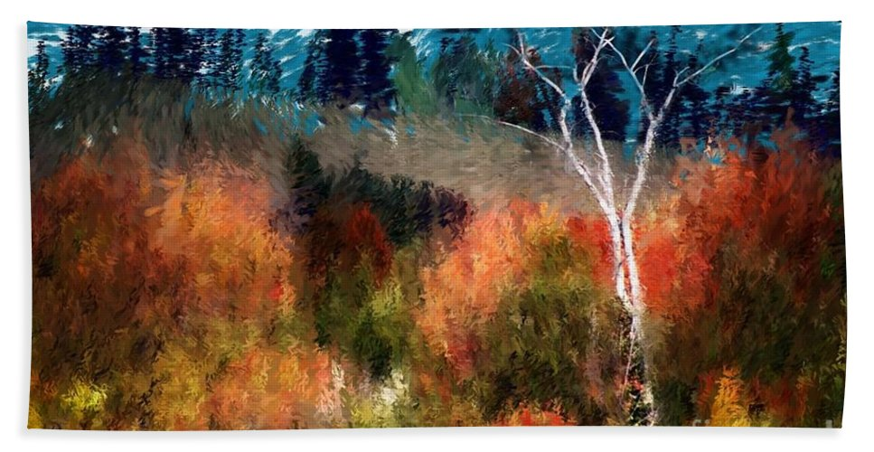 Digital Photo Beach Sheet featuring the digital art Autumn Feel by David Lane