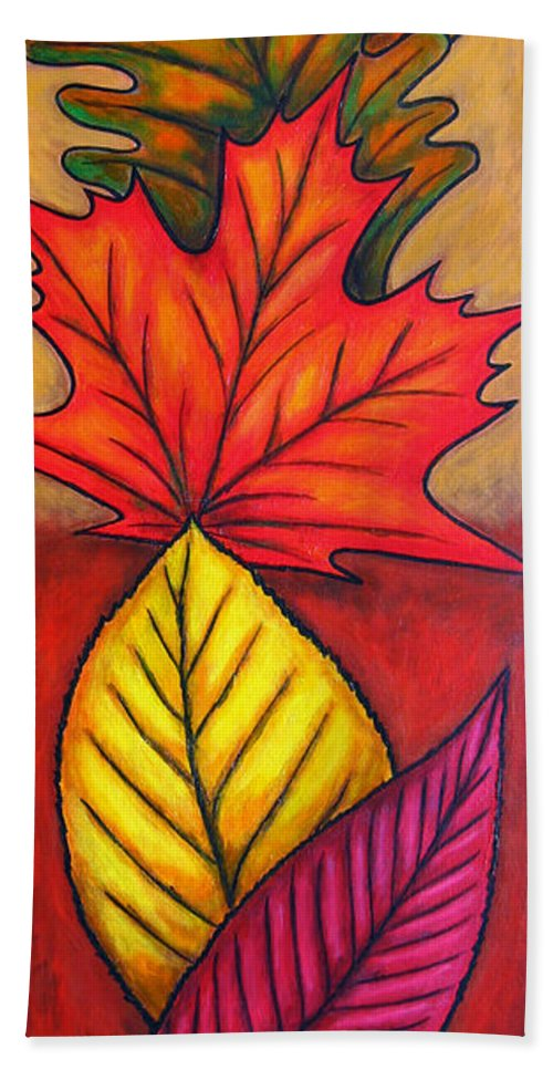 Autumn Beach Towel featuring the painting Autumn Glow by Lisa Lorenz