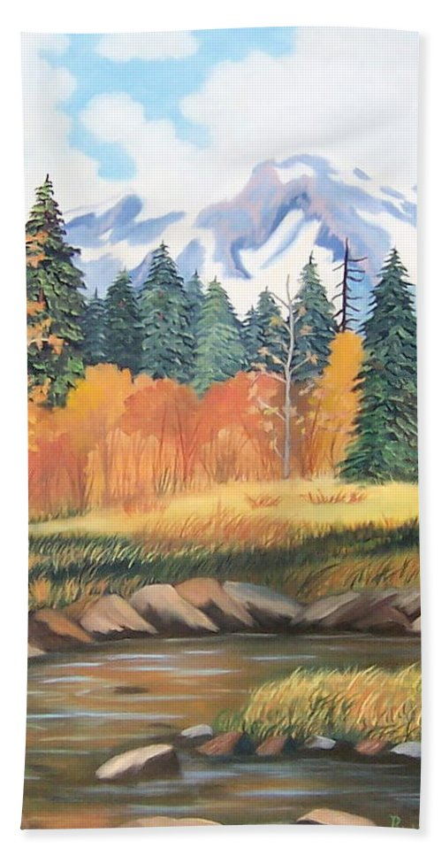 Landscape Beach Towel featuring the painting Autumn In The Mountans by Ruth Housley