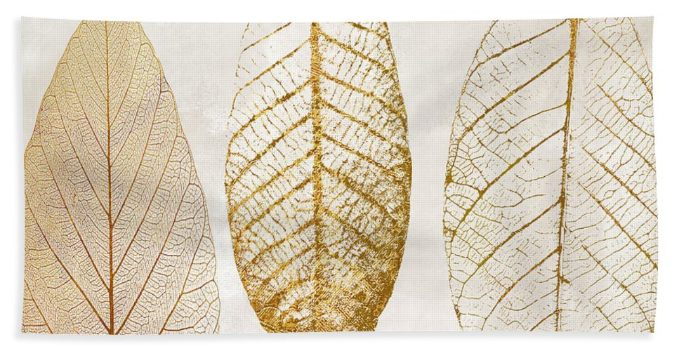 Leaf Beach Towel featuring the painting Autumn Leaves IIi Fallen Gold by Mindy Sommers
