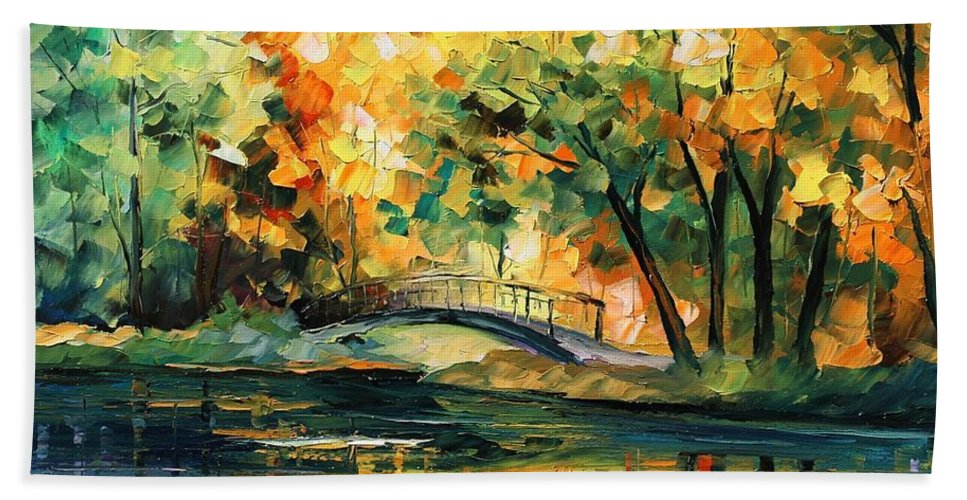 Afremov Beach Towel featuring the painting Autumn by Leonid Afremov
