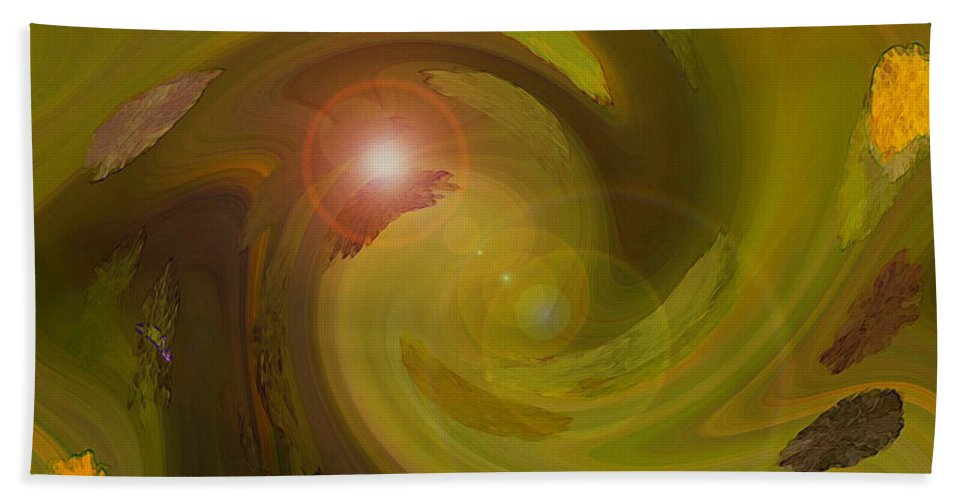 Digital Painting Abstract Beach Towel featuring the digital art Autumn Light by Linda Sannuti