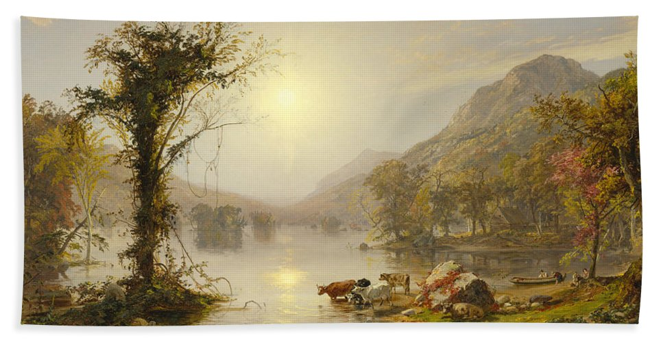 Autumn On Greenwood Lake By Jasper Francis Cropsey Beach Towel featuring the painting Autumn On Greenwood Lake by Jasper