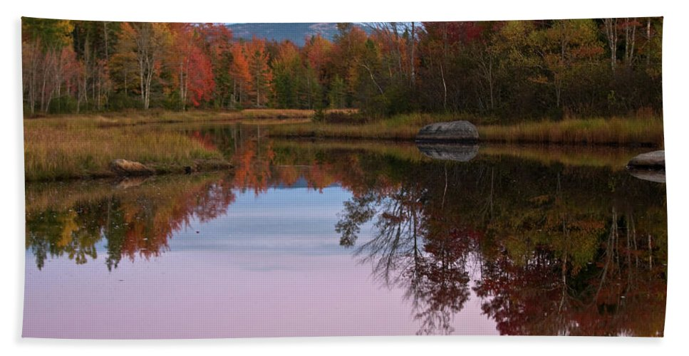 acadia National Park Beach Towel featuring the photograph Autumn Reflections by Paul Mangold