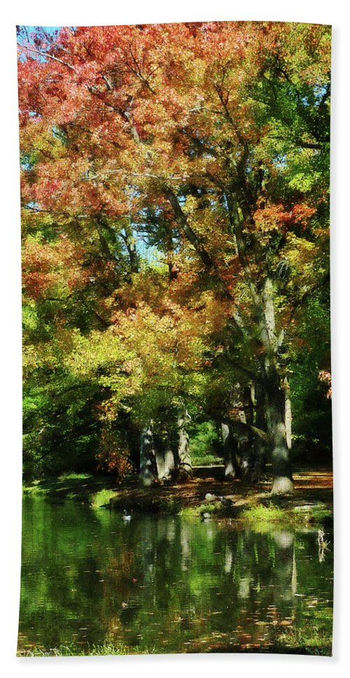Lake Beach Towel featuring the photograph Autumn Reflections by Susan Savad