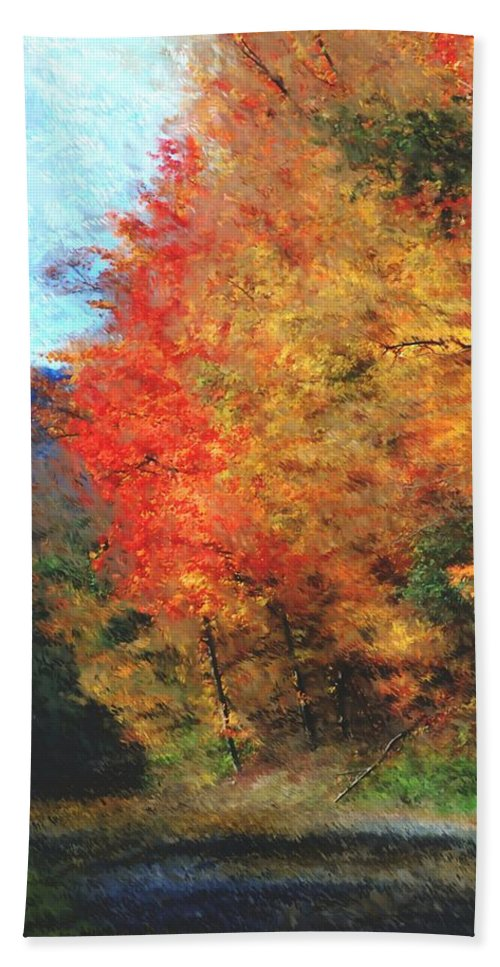 Digital Photograph Beach Towel featuring the digital art Autumn Roadside by David Lane