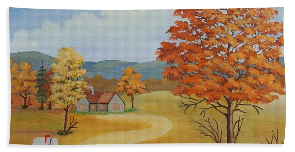Landscape Beach Sheet featuring the painting Autumn Season by Ruth Housley