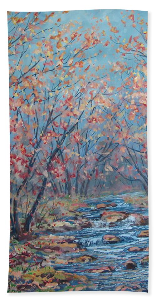 Landscape Beach Towel featuring the painting Autumn Serenity by Leonard Holland